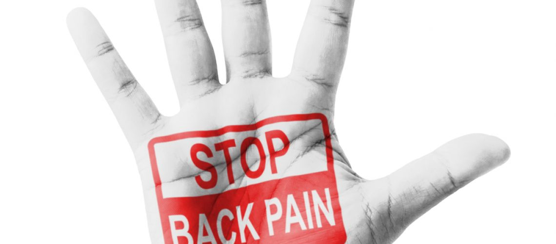 Open hand raised, Stop Back Pain sign painted, multi purpose concept - isolated on white background